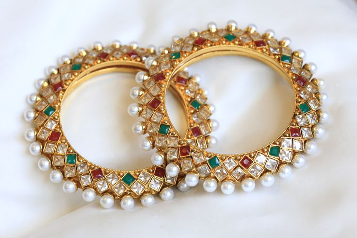 Gold bangles with polki stones and gold plating Size 2.6