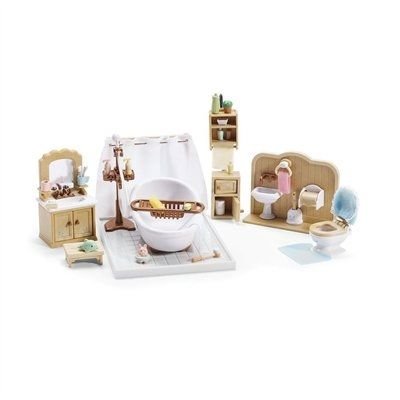 Time for bath tub fun! Over 40 pieces and accessories including bath tub with shower stand, cabinet sink with mirror, toilet, hand sink, floor tiles, toothbrushes, soaps, towels, bath toys and everything else your critters need to get squeaky clean!