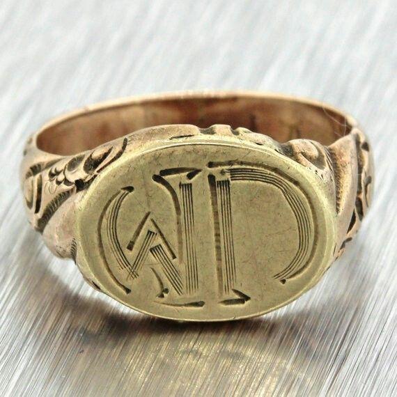 1890s antico vittoriano immobile 14k solido giallo oro inciso WD Signet Ring