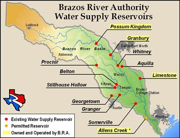 It flowed downstream into the largest flood control reservoir in the Brazos River basin, Lake Whitney. Lake Whitney was built by the United States Army ...