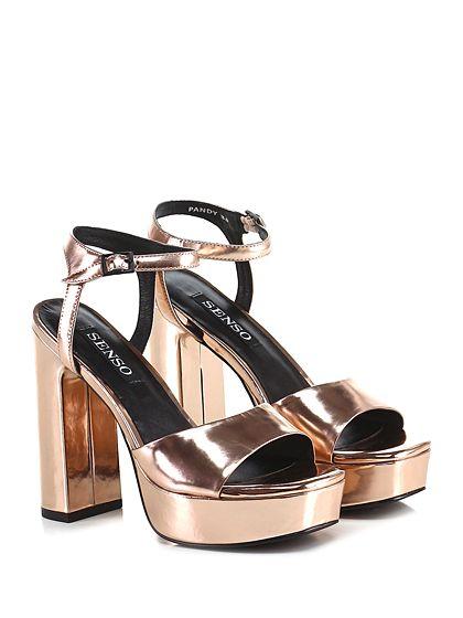 Senso - Sandalo alto - Donna - Sandalo alto in pelle specchiata con  cinturino alla caviglia