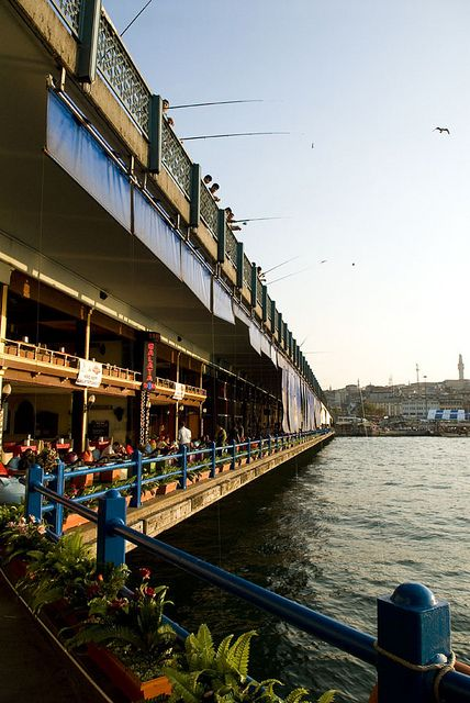 Restaurants under Galata Bridge, Istanbul                                              by bernalmanuel, via Flickr