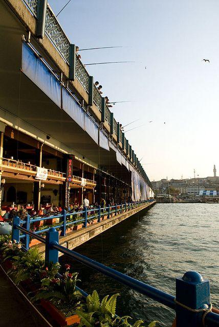 Restaurants under Galata Bridge, Istanbul
