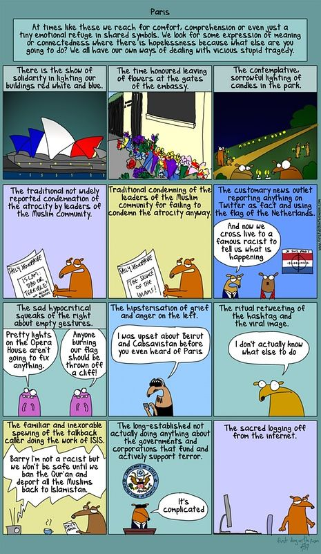 First Dog cartoon about the Paris terror attacks.