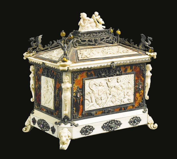 Fine Silver, Tortoiseshell, Colored Stone Mounted Carved Ivory Casket, Surmounted By A Reclining Nymph Attended By Cupid, By B. Neresheiner & Sohne   c.  Late 19th Century