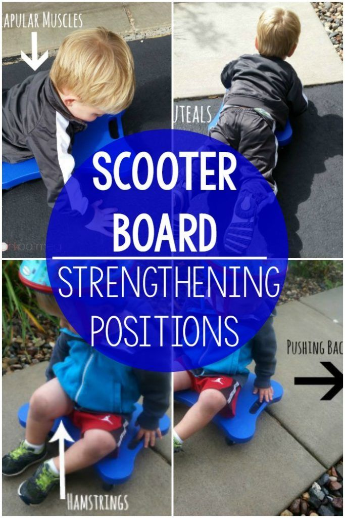Scooter boards are awesome for preschool activities as well as kindergarten activities.  This tells you all about what muscles you are strengthening with this gross motor activity in various positions.  Great for physical education, gross motor, fine motor, and activity days!