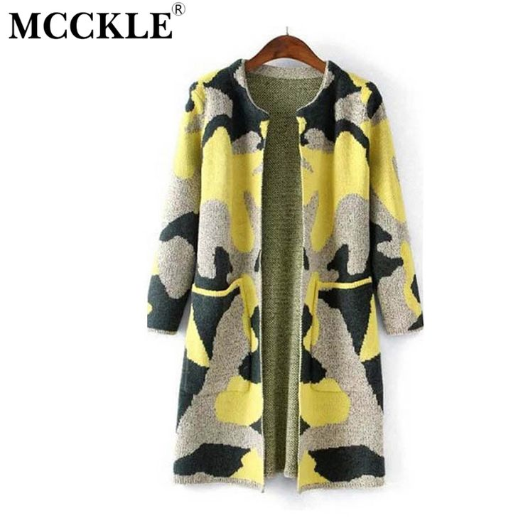 MCCKLE Long Sleeve Sweater Womens Autumn Winter Fashion New Camouflage Long Knitted Female Cardigan Women's Trench ZY682