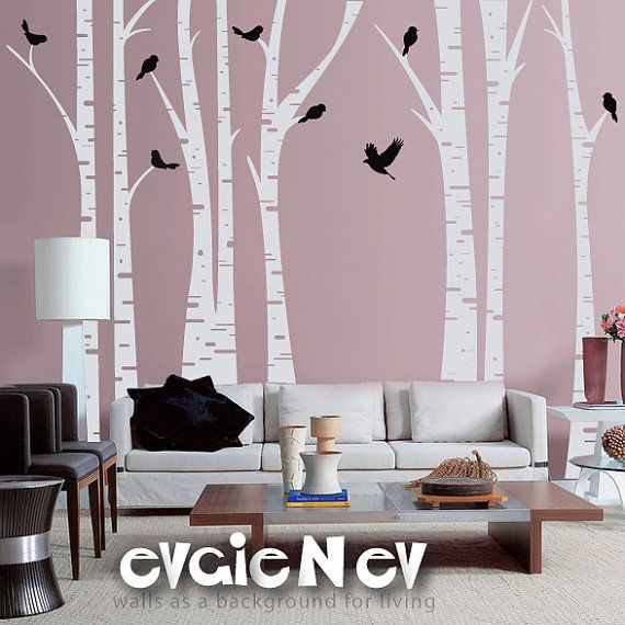 birch tree wall decal forest with birds wall decals by evgienev white and
