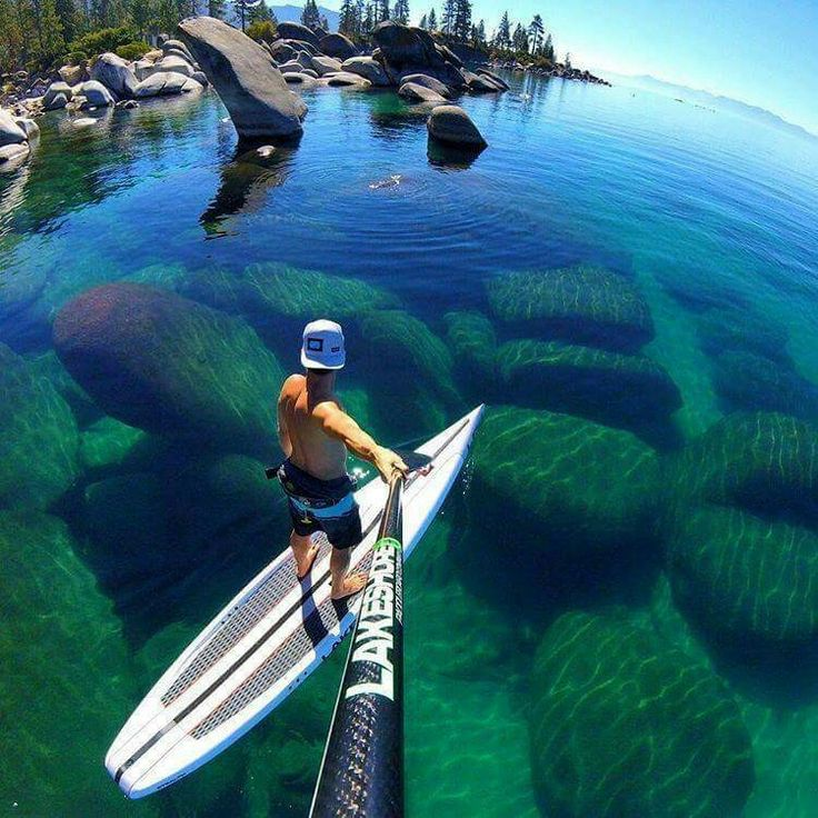 Stand up paddle boarding in Lake Tahoe, California