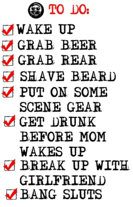 "Hollywood Undead- Charlie Scene's checklist omg @brandi_burdette lol ""everywhere I go, bitches always know, that Charlie Scene has got a weenie that he likes to show(: BITCH"" haha omg made me think of you"
