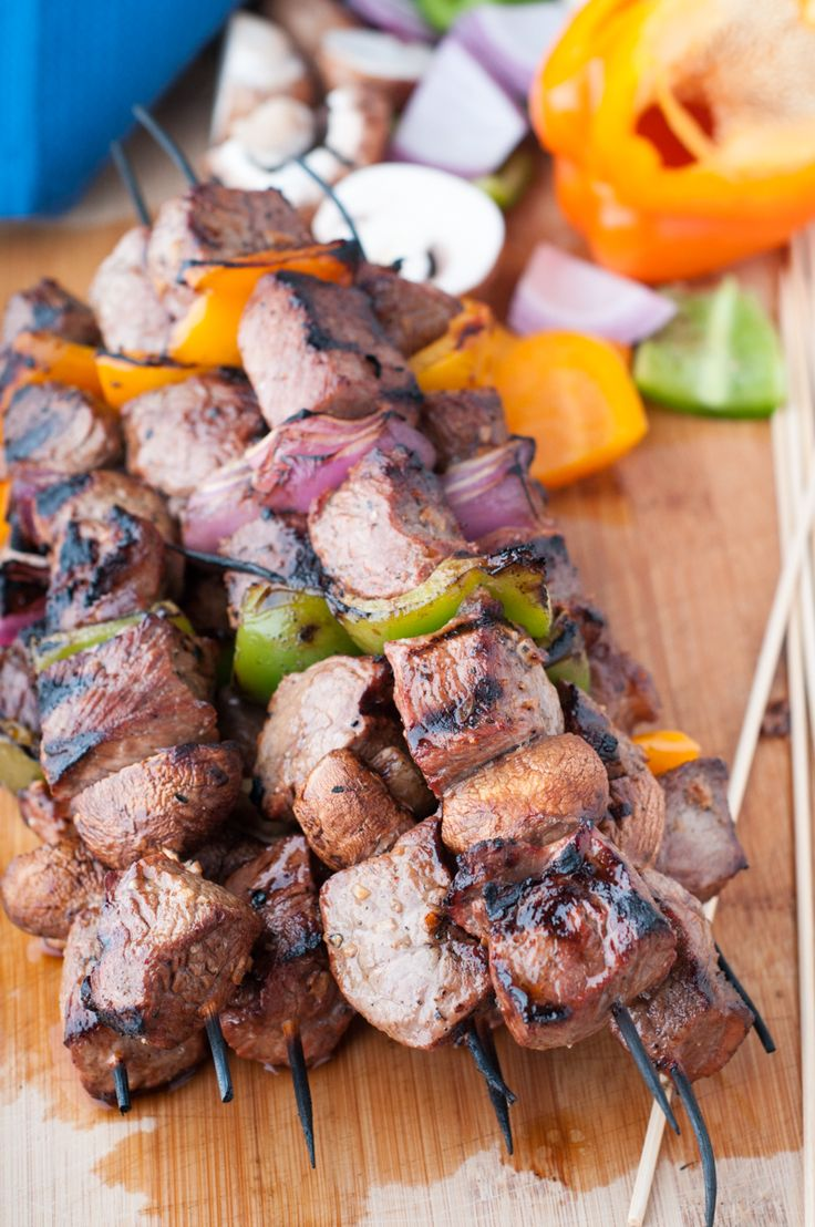 Striploin Steak Shish Kabobs. These shish kabobs are juicy and tender. Add your favourite vegetables for a perfect summer BBQ with friends and family. ...or any time of the year!