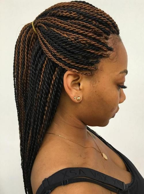 20 Inspiring Ideas for Rope Braid Hairstyles: #20: Black and Brown Senegalese Twists