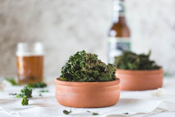 Cheesy Oven-Roasted Kale Chips {Vegan}