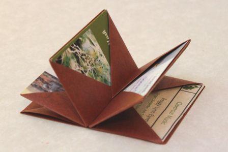 A blizzard book used for carrying business cards.  I bet the same idea could be used for postcards, 3x5's, etc...