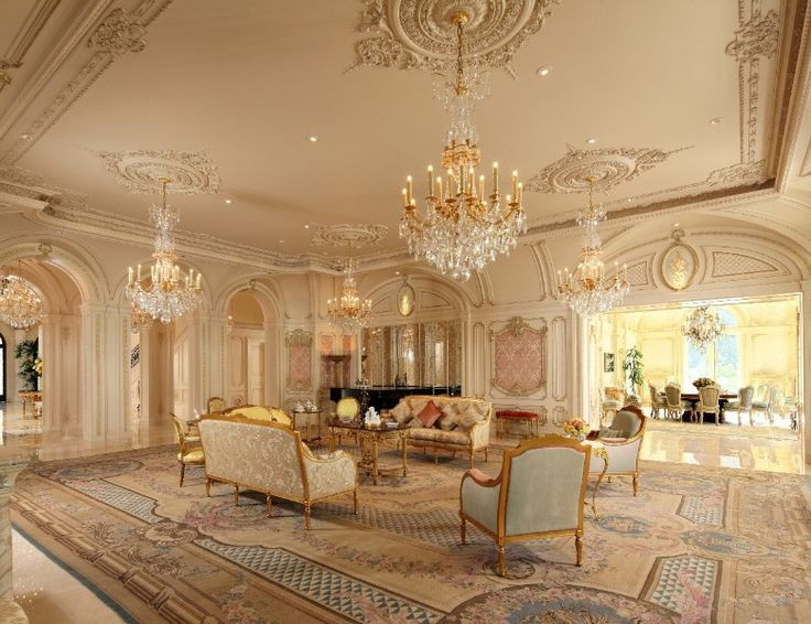 Opulent family room of the fabulously French Palladian Palais des Anges, Beverly Hills, CA.