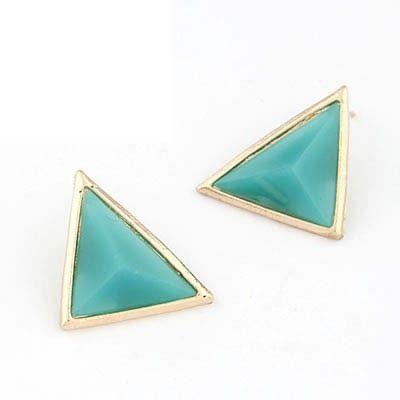 Boutique Sky Blue Triangle Stud Earrings
