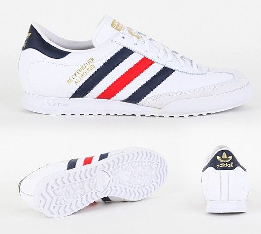 Beckenbauer Trainer  Adidas Originals Beckenbauer Trainer in White Bluebird and Red. The Beckenbauer is as iconic as Franz himself and this version encompasses vintage casual style with a leather upper rubber outsole finished off with Adidas 3 stripe branding to side £44.99