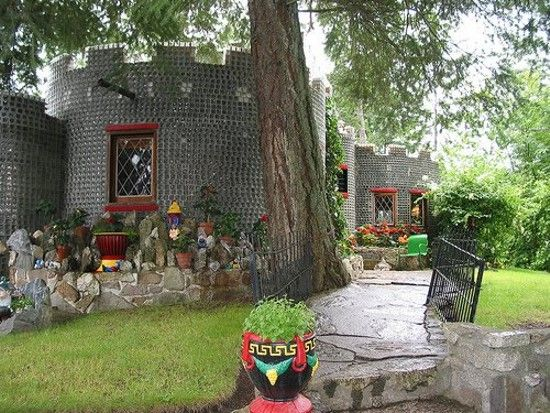 Built of half a million empty embalming fluid bottles, this home was created by David H. Brown, a retired undertaker in British Columbia.