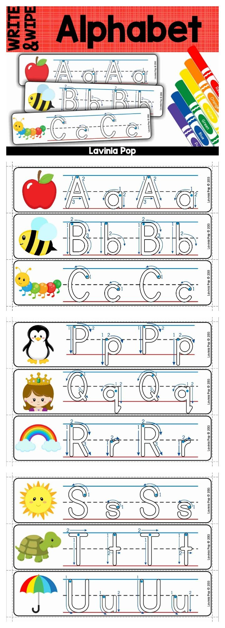 Write and Wipe Alphabet cards with directional arrows to show correct letter formation.