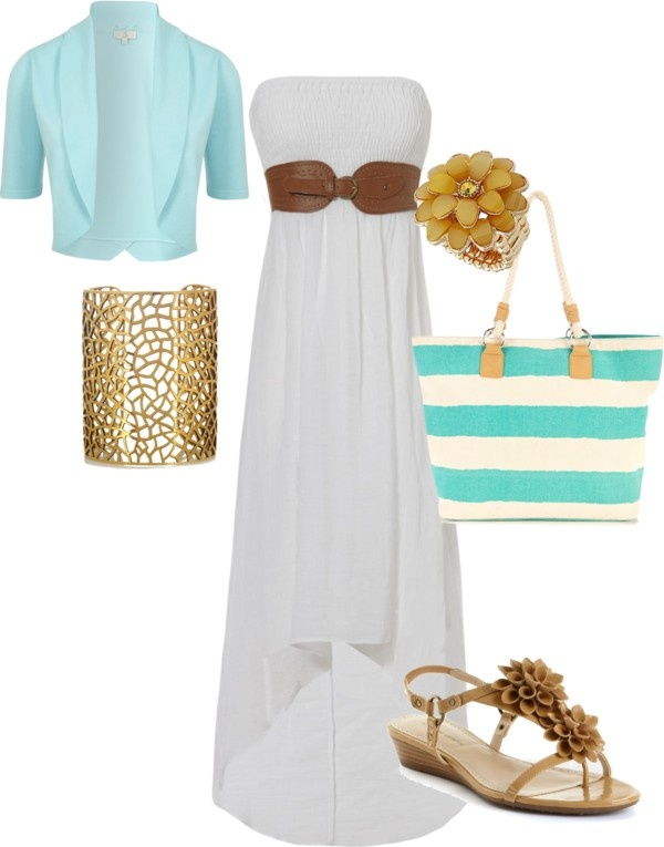 long sun dress, created by emilymarie-94 on Polyvore ..... Without the shawl and jewelry
