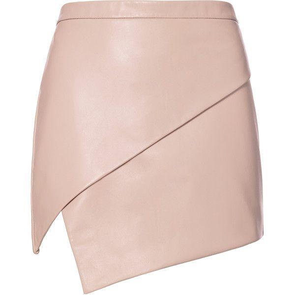 Michelle Mason Asymmetric Hem Leather Mini Skirt (13 795 UAH) ❤ liked on Polyvore featuring skirts, mini skirts, bottoms, saias, gonne, pink, short leather skirt, pink leather mini skirt, pink leather skirt and michelle mason