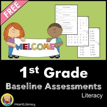 Free 1st Grade Back to School Baseline Reading Assessments - You can use these baseline assessments to get a starting point for your 1st graders for: uppercase letters, lowercase letters, sight words, CVC words, and Nonsense CVC words.
