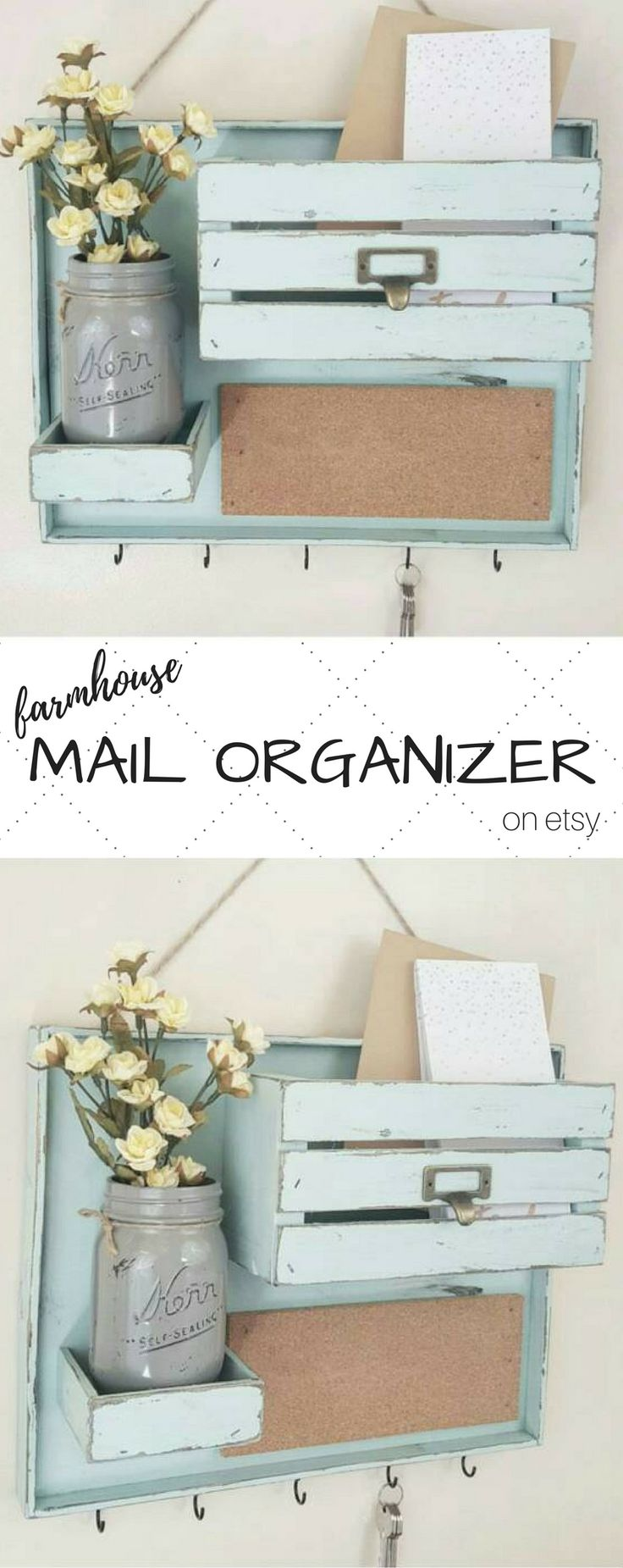 ADORABLE mail organizer on Etsy!!! {{Cottage Country Corner Shop}} This is perfect for the entryway or mudroom. What a great little place to store mail and keys! Because it's smaller, you don't even need a large entryway or mudroom ... you can hang it right on the wall by the door! LOVE this. {{ mail organizer - entryway organizer - command center - mail holder - key hanger - mud room ideas - farmhouse entry }}