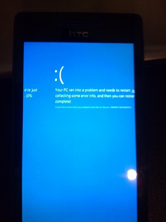 Error collecting information on a HTC Windows Phone