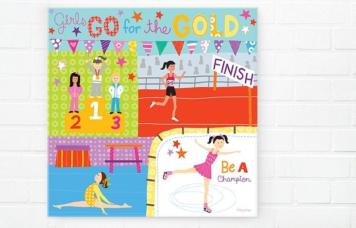 Girls Go for Gold Canvas Print | Olympic Spirit | Artworks | Happy Spaces. By Lesley Grainger