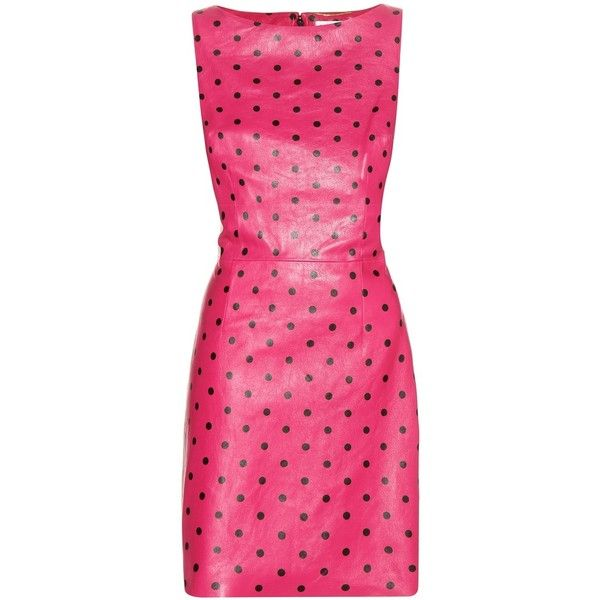 Saint Laurent Printed Leather Dress ($1,610) ❤ liked on Polyvore featuring dresses, vestidos, pink, short dresses, yves saint laurent, leather dress, short pink dress and pink mini dress