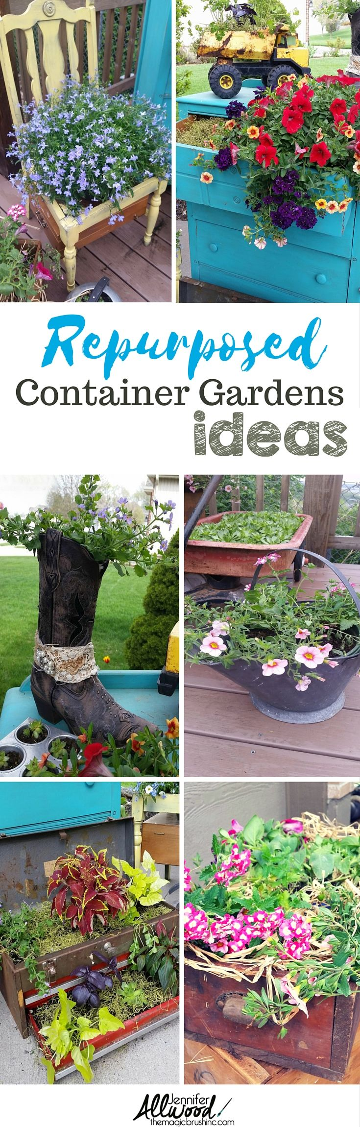 Beautiful Repurposed Container Garden Ideas. Repurpose vintage decor and other farmhouse containers into flower pots for container gardening. Makes wonderful Farmhouse Outdoor decor. More design tips from theMagicBrushinc.com