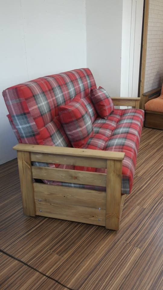 Boston 3 seat futon style sofa bed. Handmade in a tartan plaid fabric & wood stained in antique oak.