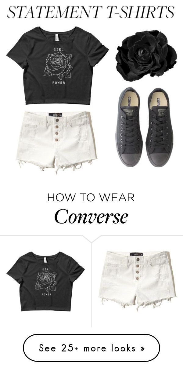 """Statement T-Shirts #1"" by hideous on Polyvore featuring Hollister Co., Masquerade, Converse, contest, saywhat and statementtshirt"