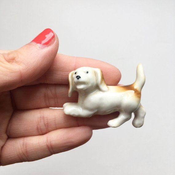 Miniature Ceramic Dachshund Sausage Dog Little Pottery Animal