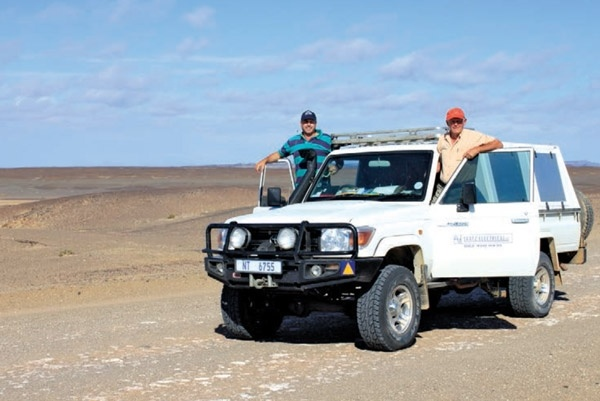 Grant Laatz and his father in Namibia with their Cruiser pick-up.