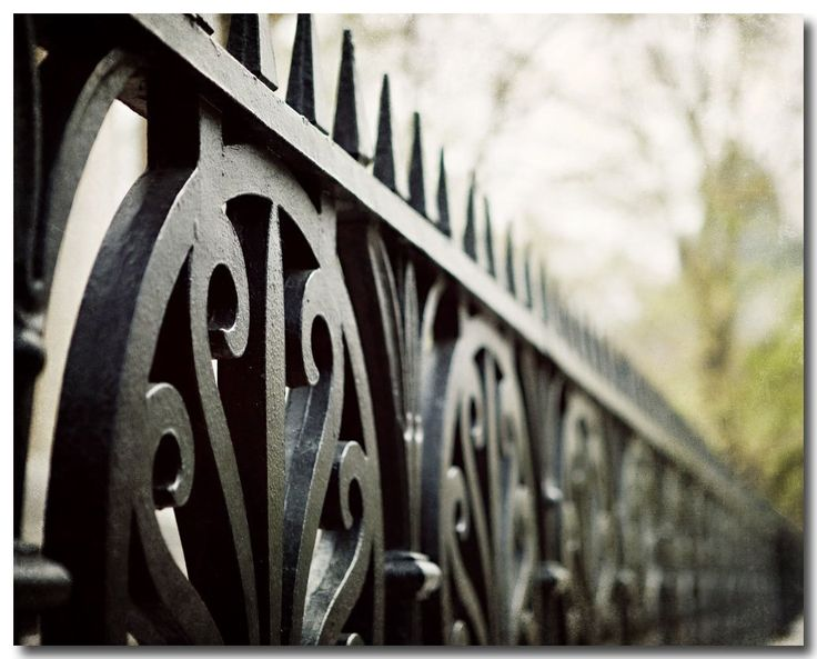 """Iron Fence Photograph, Black Art, Urban Decor, Philadelphia Photography. Unframed horizontal iron fence photograph. • Borderless fine art photograph with a soft luster finish. • Available in sizes 8x10 through 30x40 (Click """"Select Options"""" menu to choose). • Watermark does not appear on final photograph."""
