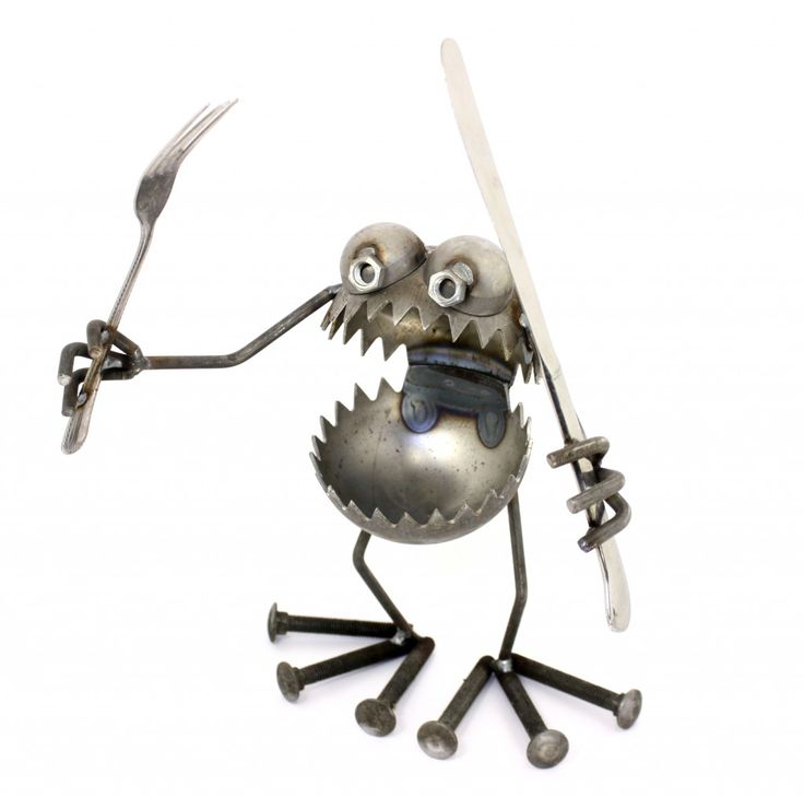 Knife and Fork Gnome be Gone   recycled metal art, recycled gift, recycled garden art   Re-Inspiration Store