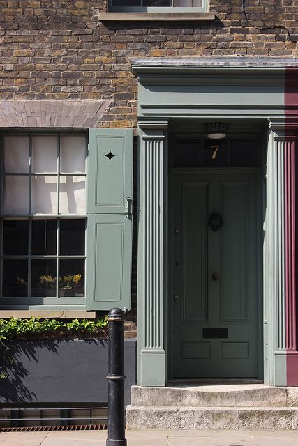 7 Fournier Street, Spitalfields, London (c.1722) restored.Paintwork is Farrow and Ball green smoke, a lovely grey green colour.