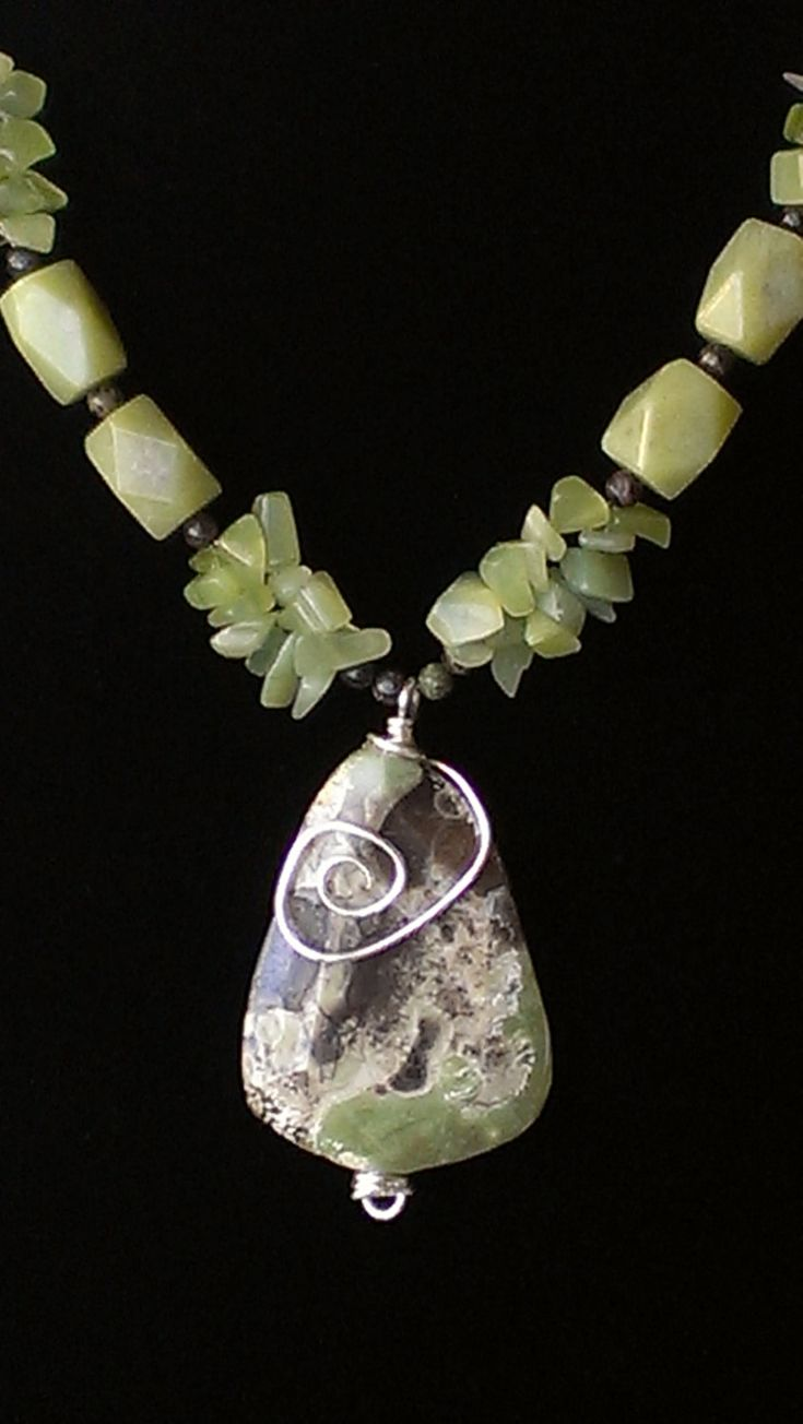 Jasper and New Jade Necklace. $75.00, via Etsy.