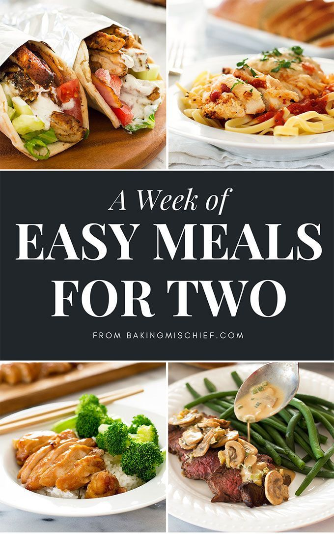 A Week of Easy Meals for Two, a free e-book from http://BakingMischief.com Come get your copy!