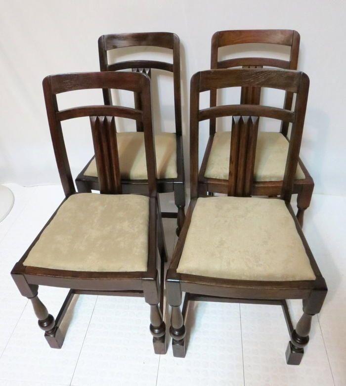 Antique Set 4 Art Deco Ebony Oak T Back Pub Dining Room Chairs Kitchen Dinette