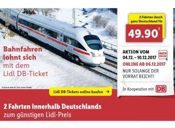 Lidl: Bahntickets für zwei einfache Fahrten zum Preis von 49,90 Euro https://www.discountfan.de/artikel/reisen_und_bildung/lidl-bahntickets-fuer-zwei-einfache-fahrten-zum-preis-von-4990-euro.php Ab sofort sind sie im Onlineshop des Discounters verfügbar: Die neuen Lidl-Bahntickets. Mit ihnen können vom 8. Januar bis 27. März 2018 zwei Fahrten zum Pauschalpreis von 49,90 Euro gebucht werden – pro Strecke fallen also deutschlandweit weniger als 25 Euro an. Lidl: Bah