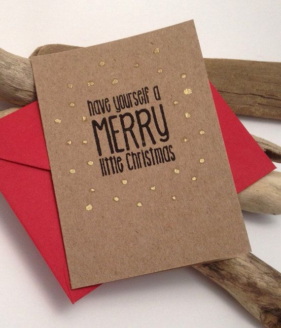 One small A7 size kraft brown coloured Christmas greeting card with festive red envelope. This card is made with Australian made recycled paper card