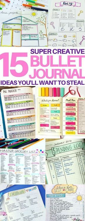 This is EXACTLY what I wanted - amazing bullet journal page ideas! Great ideas for bujo daily layouts, bill trackers, meal planners, keys, and doodling ideas!