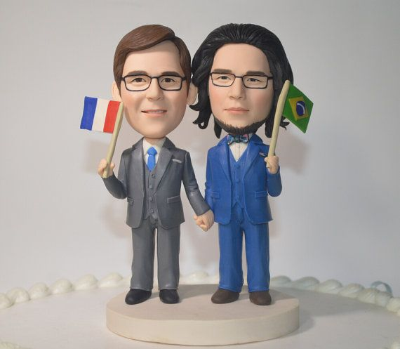 Gay wedding cake topper personalized toppers by Vivantopperstudio