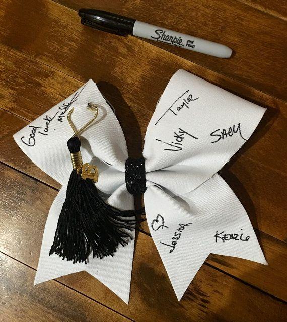 Senior autograph cheer bow