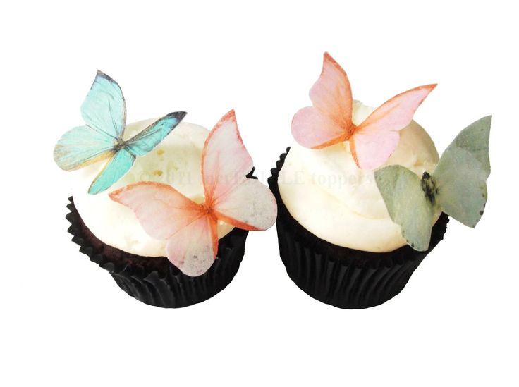 Edible Butterflies - 24 Coral and Sage  - Cake Topper, Spring Wedding, Cupcake Decorations. $9.50, via Etsy.