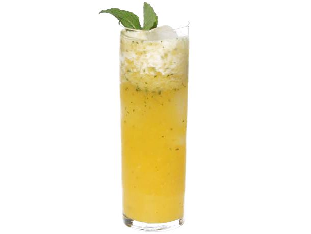 pineapple mint agua fresca: combine 1 small pineapple with 1/4 c sugar.  cover and refrigerate for one hour.  add 2 c water, 1/8 cup mint leaves, juice of 1 lime.  blend.  strain into pitcher.  serve over ice