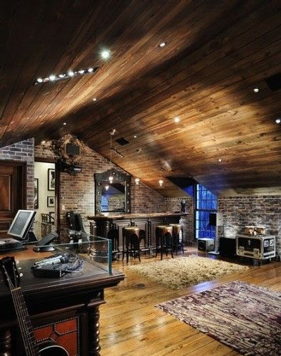 Music Studio Room Design: Eclectic Music Room With Bar