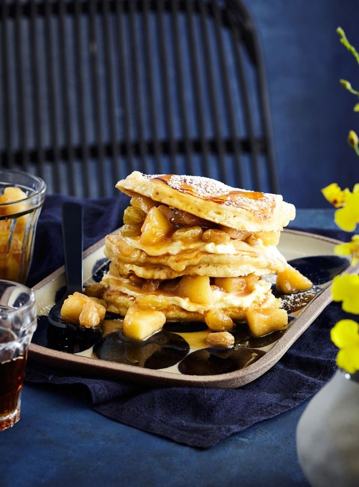 Light and fluffy hotcakes are delicious paired with apples and tart crème fraiche and make a great weekend treat.